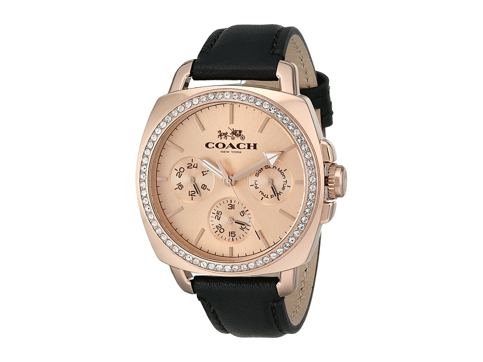 COACH - Boyfriend 40MM Leather Strap Watch (Rose Gold/Black) Watches
