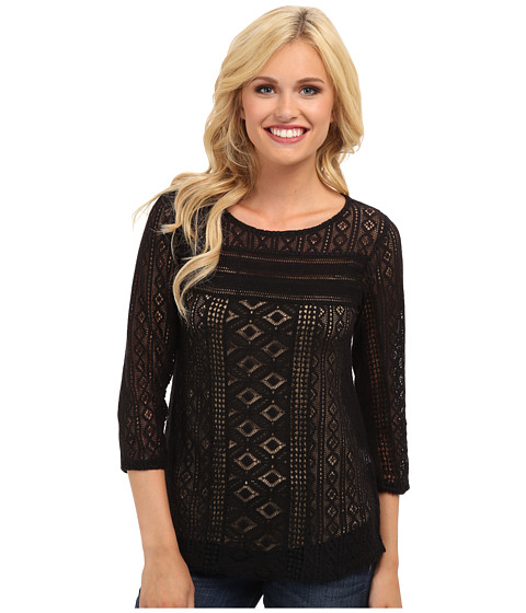 Lucky Brand - Tanya Mixed Lace Top (Lucky Black 1) Women