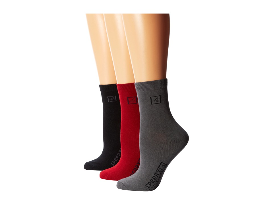 Sperry Top-Sider - Solid Logo (Red Dahlia) Women's Crew Cut Socks Shoes