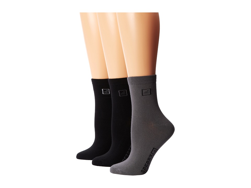Sperry Top-Sider - Solid Logo (Black) Women's Crew Cut Socks Shoes
