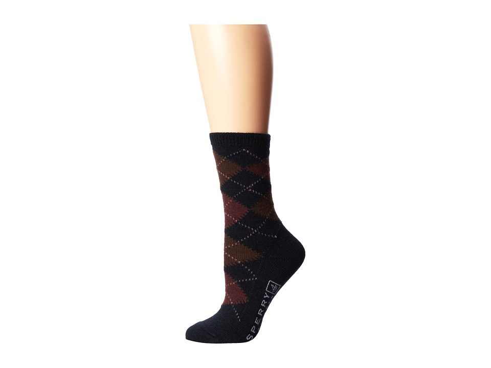 Sperry Top-Sider - Merino Wool Argyle (Black) Women's Crew Cut Socks Shoes
