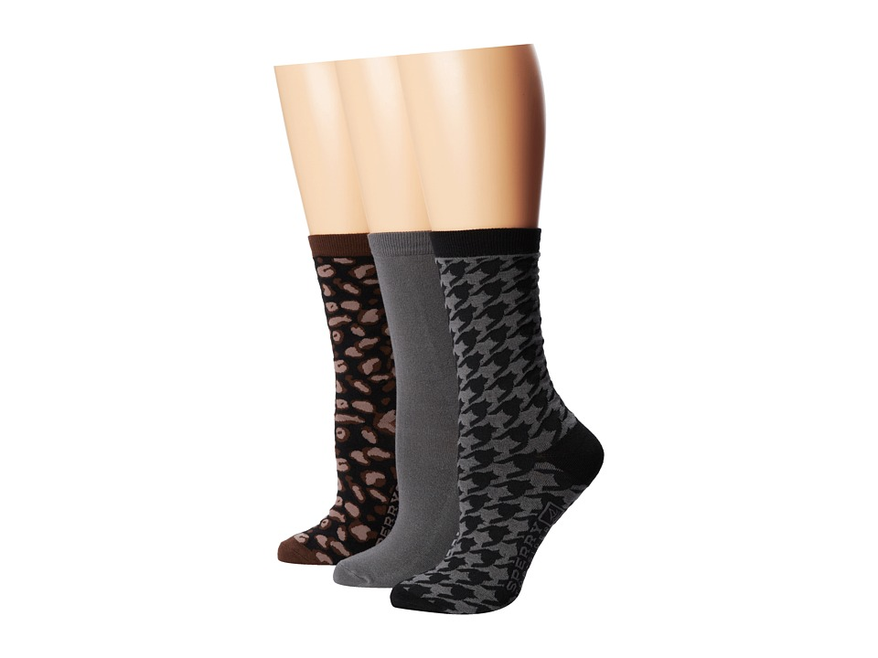 Sperry Top-Sider - Leopard (Black) Women's Crew Cut Socks Shoes