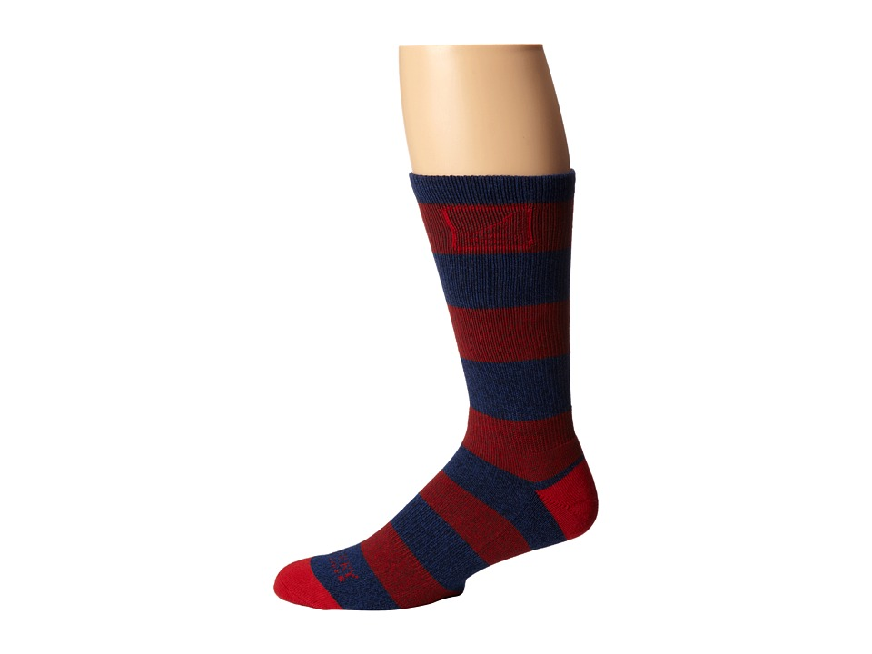 Sperry Top-Sider - Marl Rugby (Navy/Red Dahlia) Men's Crew Cut Socks Shoes
