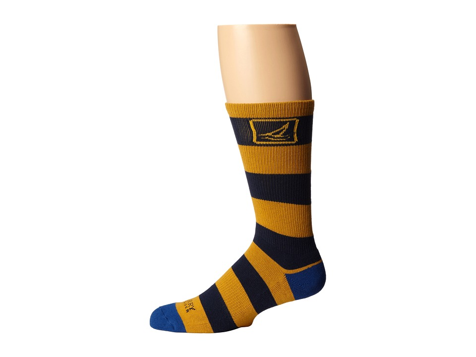 Sperry Top-Sider - Solid Rugby (Golden Glow/Navy) Men's Crew Cut Socks Shoes