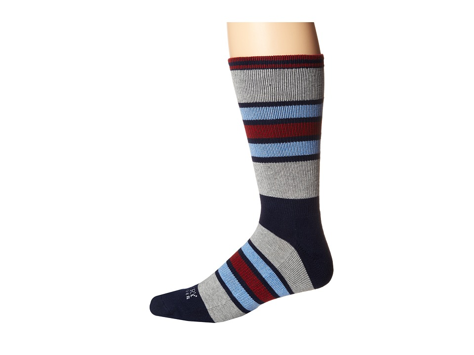 Sperry Top-Sider - Stripe Stripes (Navy/Gray Heather) Men's Crew Cut Socks Shoes