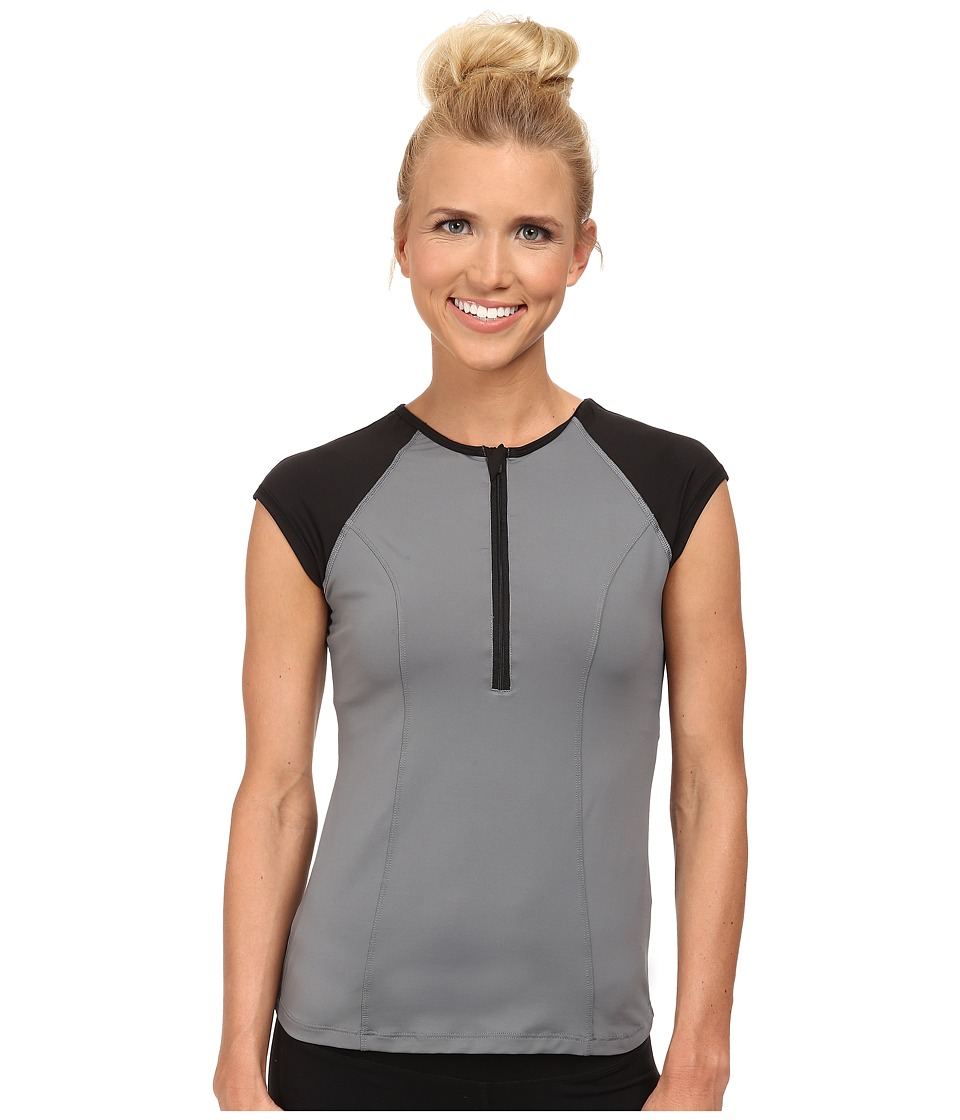 Spanx Active - Capped Sleeve Top (Cool Gray/Black) Women's Workout