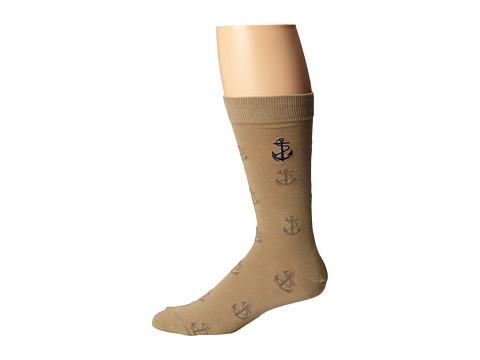 Sperry Top-Sider - Textured Anchor Crew (Cornstalk/Navy) Men's Crew Cut Socks Shoes