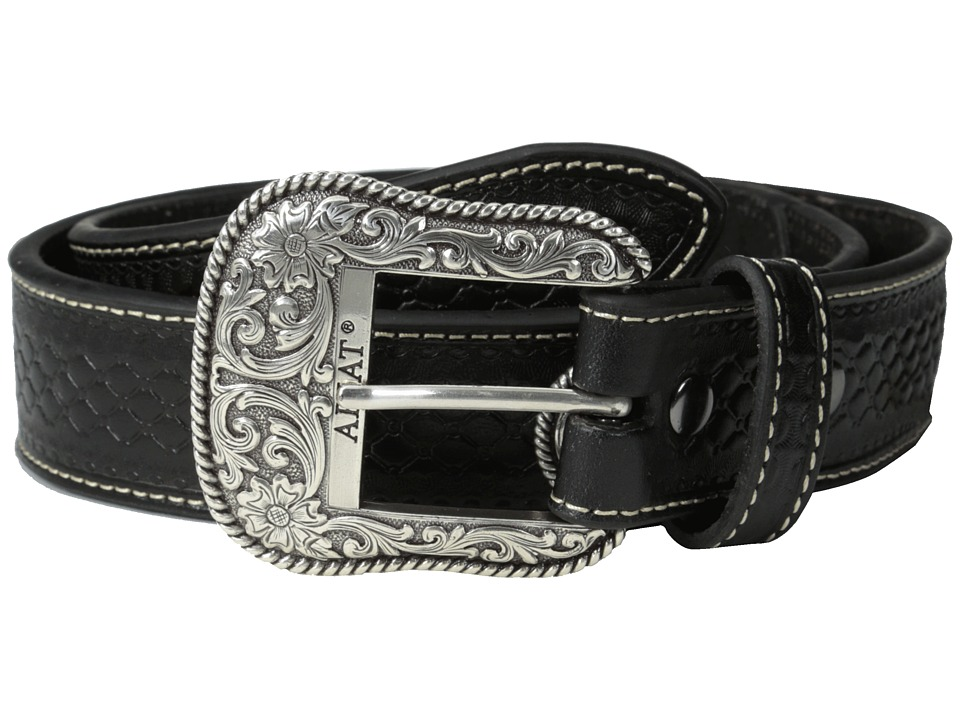 Ariat - Basket Weave Tab Beaded Belt (Black) Men's Belts