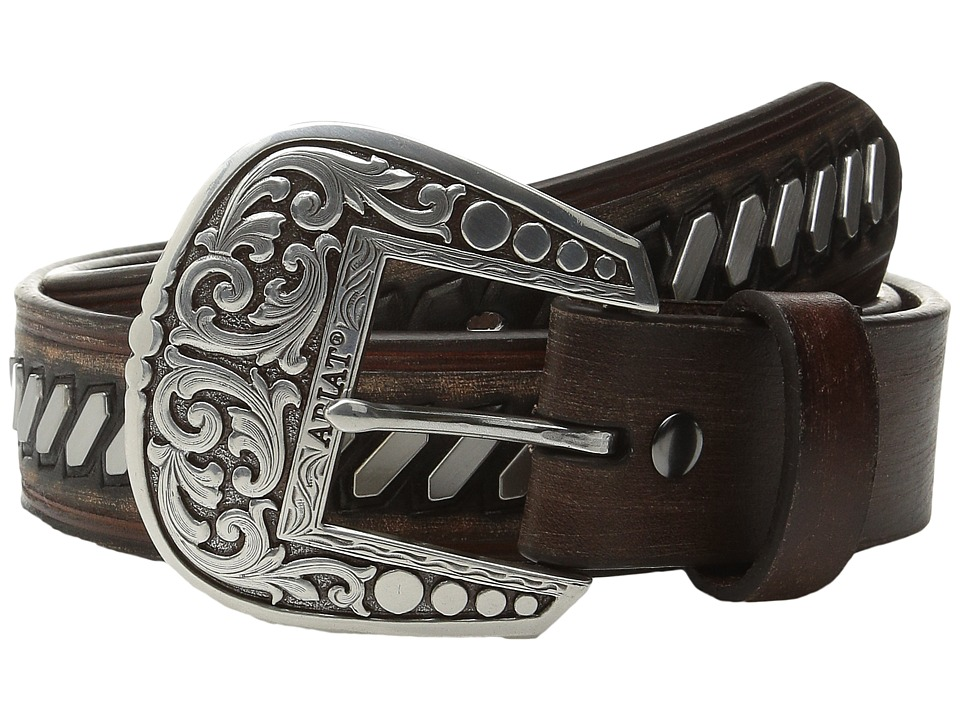 Ariat - Flat Nailhead Patterned Belt (Brown) Men's Belts