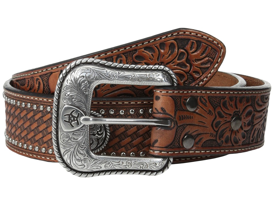 Ariat - Floral Tool Embossed Tab Concho Belt (Tan) Men's Belts
