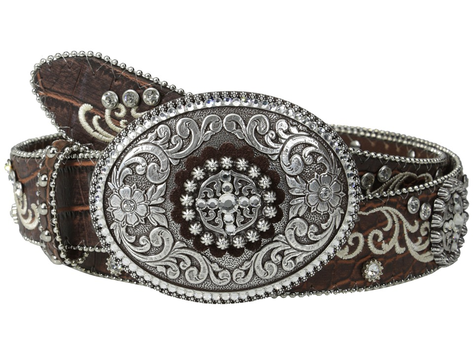 Ariat - Embroidered and Studded Belt w/ Large Oval Buckle (Brown) Women's Belts