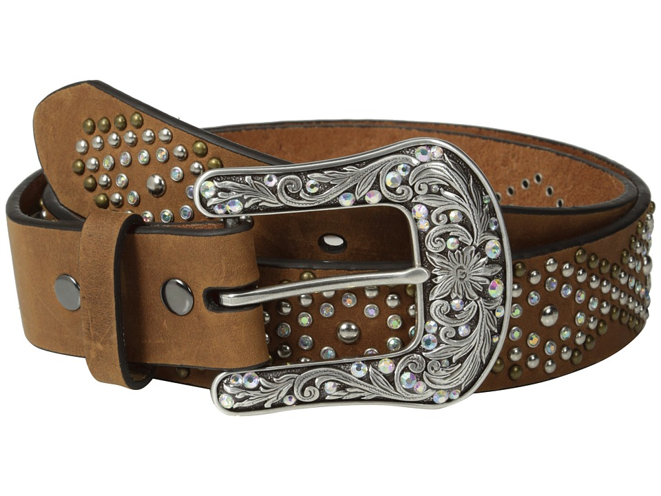 Ariat - Diamond Patterned Studded Belt (Brown) Women's Belts