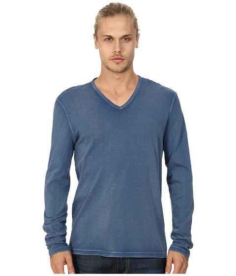 John Varvatos Star U.S.A. - L/S V-Neck Knit Reverse Print Shirt K1505Q4B (Cobalt/Cobalt/Academy) Men's T Shirt