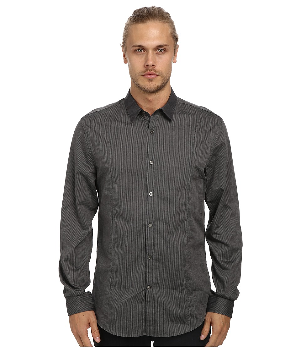 John Varvatos Star U.S.A. - Slim Fit Shirt w/ Slim Collar and Body Seaming W481Q4L (Asphalt) Men's Long Sleeve Button Up