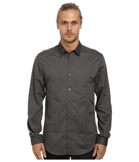 John Varvatos Star U.S.A. - Slim Fit Shirt w/ Slim Collar and Body Seaming W481Q4L (Asphalt) Men