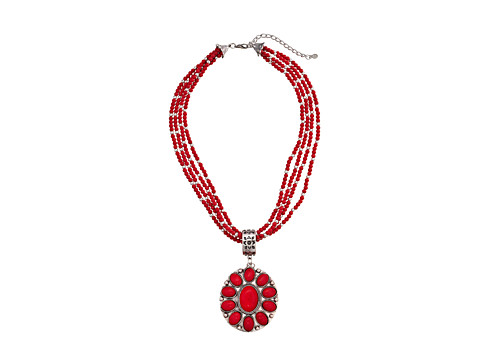 M&F Western - Multi Strand Round Concho Necklace/Earring Set (Red) Jewelry Sets