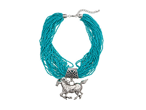 M&F Western - Multi Beaded Strand Horse Necklace/Earring Set (Turquoise) Jewelry Sets