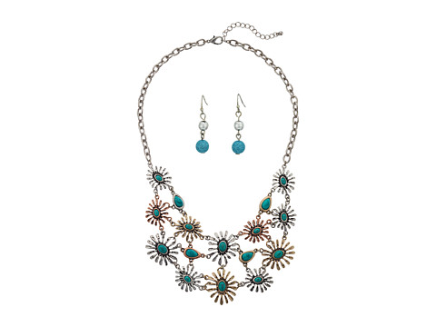M&F Western - Mixed Metal Flower Bib Neckace/Earring Set (Silver/Gold/Copper) Jewelry Sets