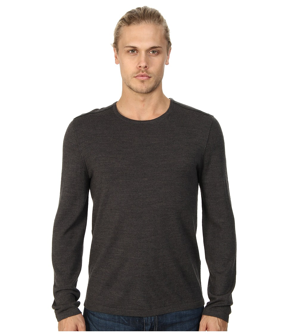 John Varvatos Star U.S.A. - Crew Neck Sweater w/ Leather Elbow Patches and Piping Y1093Q4L (Shark) Men's Sweater