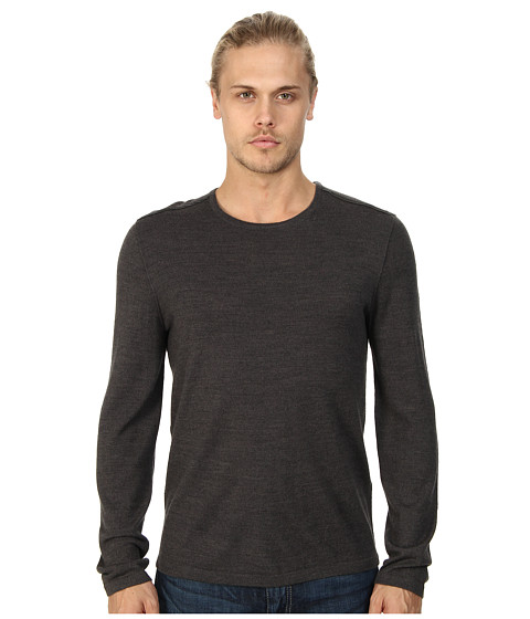John Varvatos Star U.S.A. - Crew Neck Sweater w/ Leather Elbow Patches and Piping Y1093Q4L (Shark) Men