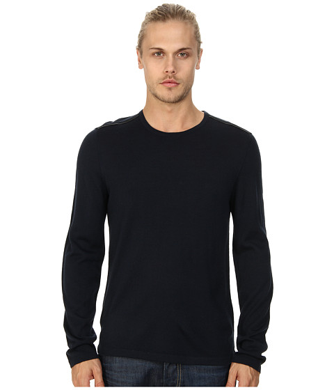 John Varvatos Star U.S.A. - Crew Neck Sweater w/ Leather Elbow Patches and Piping Y1093Q4L (Indigo) Men's Sweater