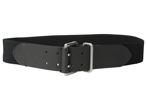 LAUREN by Ralph Lauren - 2 Stretch Belt w/ Double Prong Buckle (Black) Women's Belts