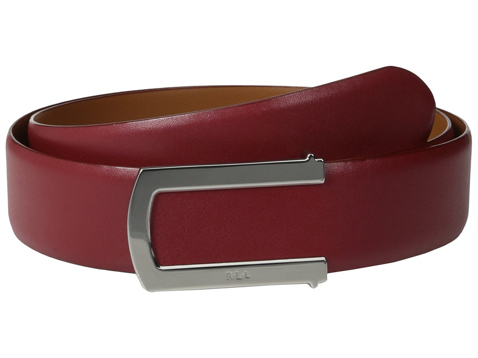 LAUREN by Ralph Lauren - 1 1/2 Leather Belt w/ Rim Plaque (Vermillion) Women's Belts