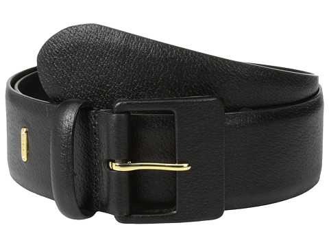 LAUREN by Ralph Lauren - 1 5/8 Textured Leather Belt w/ Leather Covered Buckle (Black) Women
