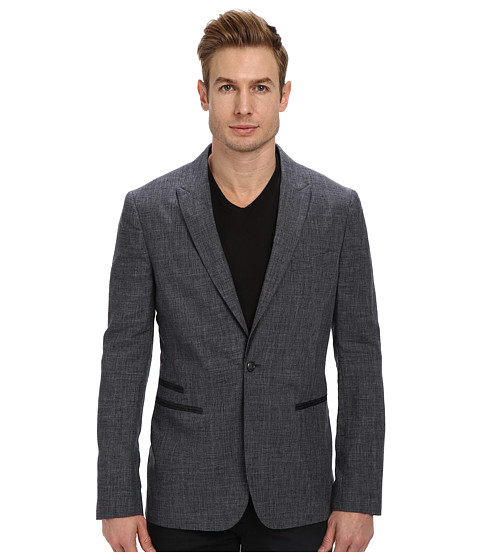 John Varvatos Star U.S.A. - 1 Button Peak Lapel Soft Jacket w/ Contrast Under Piecing JVS1186L (Indigo) Men