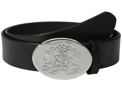 LAUREN by Ralph Lauren - 1 1/2 Vachetta Belt w/ Lion Crest Plaque (Black) Women