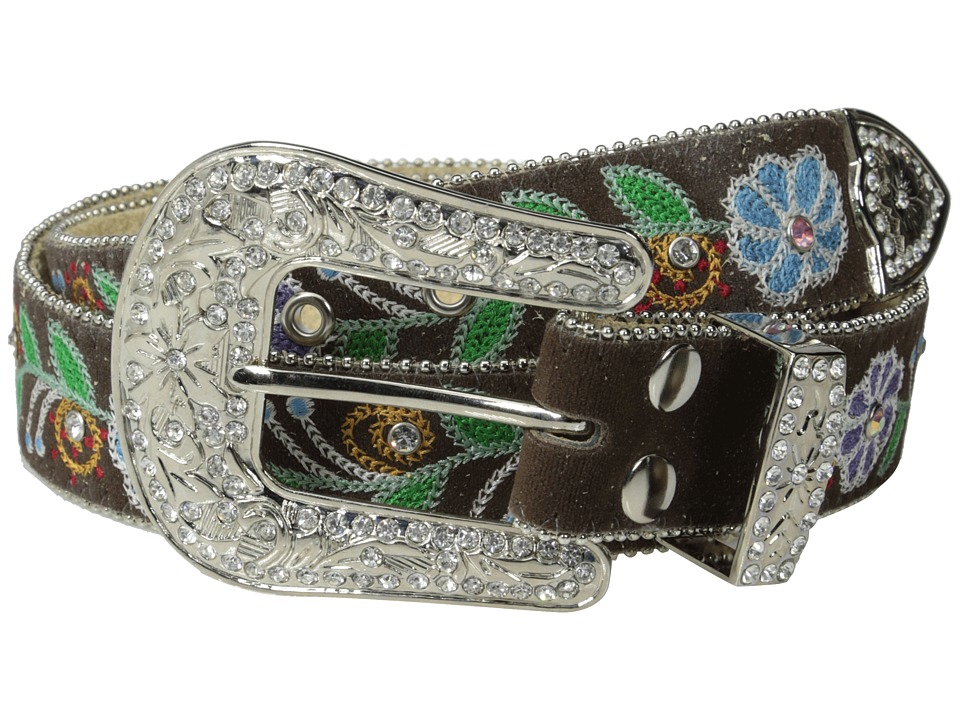 M&F Western - Embroidered Flowers w/ Crystals Belt (Brown) Women's Belts