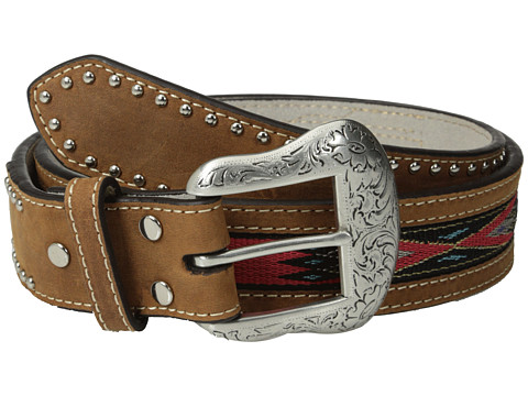 M&F Western - Southwest Ribbon Inlay Belt (Tan/Red) Men