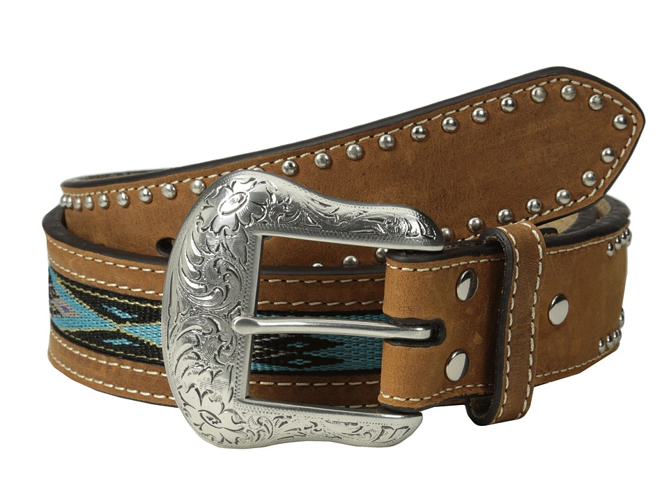 M&F Western - Southwest Ribbon Inlay Belt (Tan/Turquoise) Men's Belts
