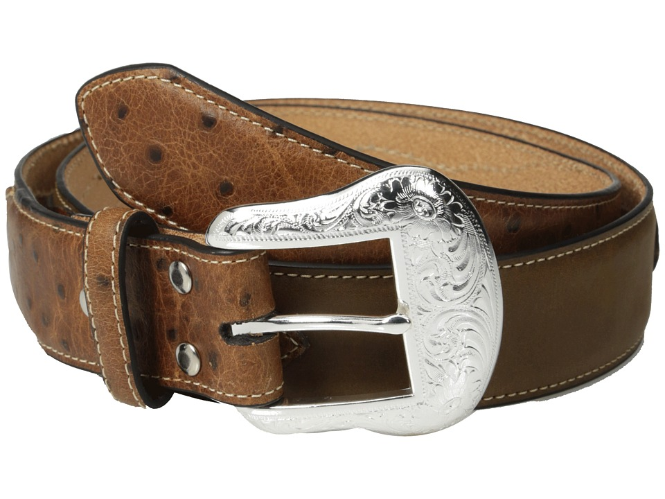 M&F Western - Ostrich Tab Floral Concho Belt (Tan) Men's Belts