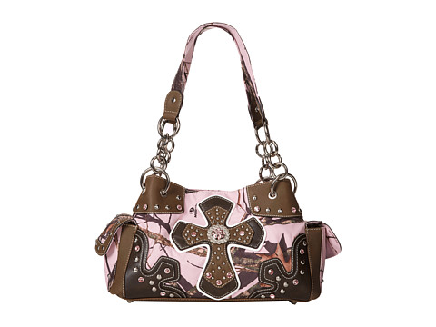 M&F Western - Cross Overlay Mossy Oak Satchel (Pink/Mossy Oak Camo) Satchel Handbags