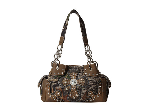 M&F Western - Cross Overlay Mossy Oak Satchel (Mossy Oak Camo) Satchel Handbags