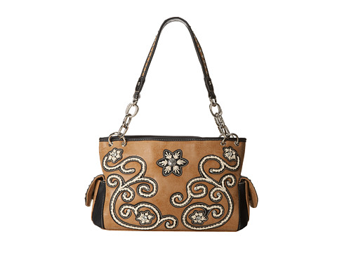 M&F Western - Floral Stitch Large Satchel (Natural) Satchel Handbags