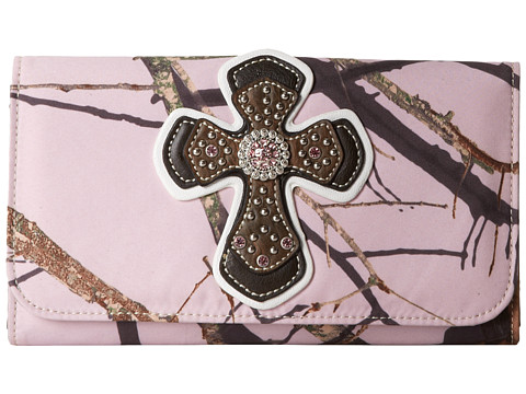 M&F Western - Cross Overlay Mossy Oak Wallet (Pink/Mossy Oak Camo) Wallet Handbags