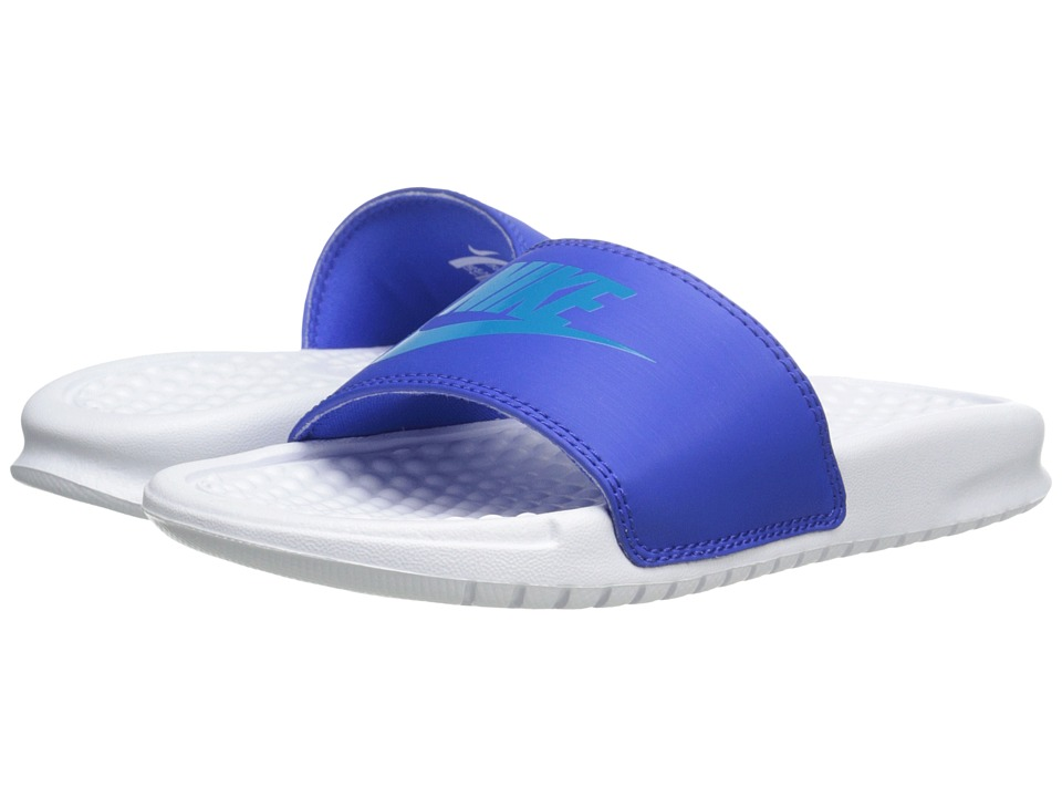 Nike Kids - Benassi JDI (Little Kid/Big Kid) (Lyon Blue/White/Blue Lagoon) Kids Shoes