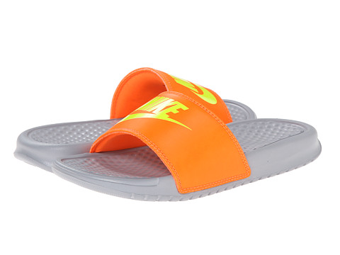 Nike Kids - Benassi JDI (Little Kid/Big Kid) (Total Orange/Wolf Grey/Volt) Kids Shoes