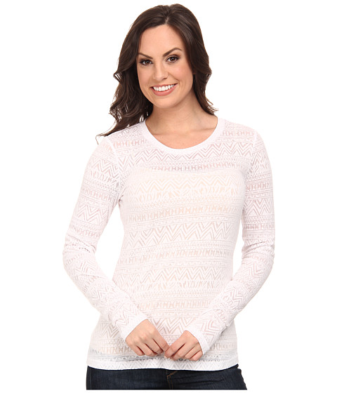 Ariat - Aztec Burn Out Top (White) Women's Long Sleeve Pullover