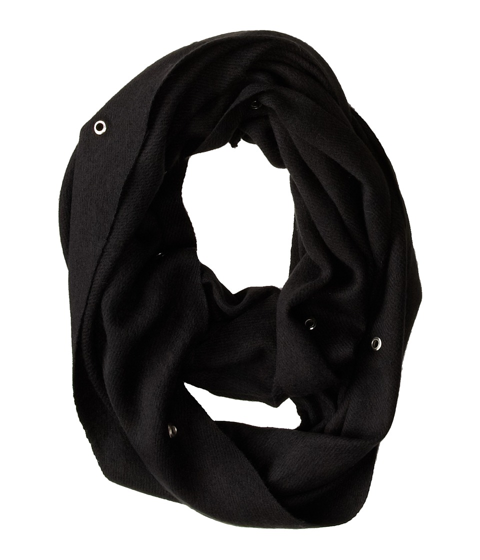 Betsey Johnson - Heart Grommet Infinity (Black) Scarves