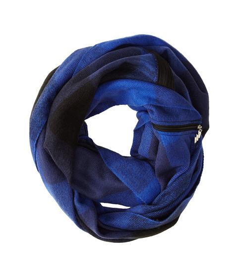 Betsey Johnson - Buffalo Check Zipper Infinity (Blue) Scarves