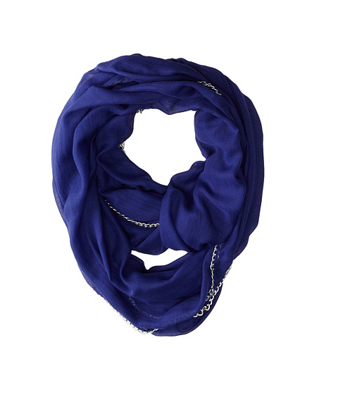 Betsey Johnson - Solid Infinity w/ Chain Link Border (Blue) Scarves