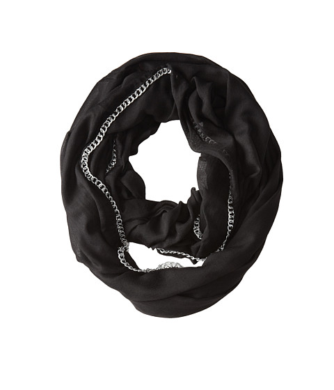 Betsey Johnson - Solid Infinity w/ Chain Link Border (Black) Scarves