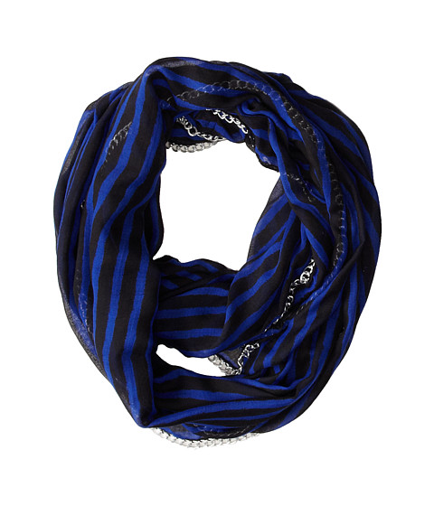 Betsey Johnson - Sketchy Stripe Infinity (Blue) Scarves
