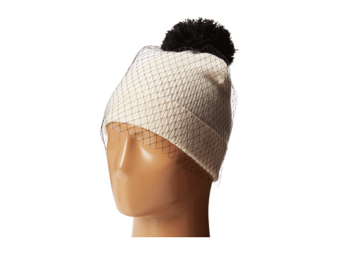 Betsey Johnson - Veil Beanie Hat (Cream) Beanies