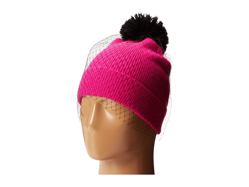 Betsey Johnson - Veil Beanie Hat (Neon Pink) Beanies