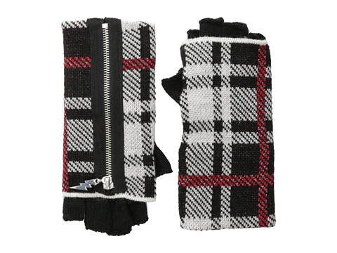 Betsey Johnson - Clash of the Tartans Half-Finger Glove (Black) Extreme Cold Weather Gloves