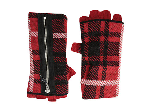Betsey Johnson - Clash of the Tartans Half-Finger Glove (Red) Extreme Cold Weather Gloves